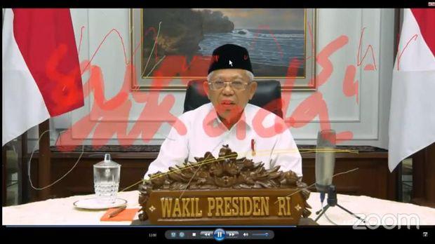 Ada pihak yang mengganggu saat Wapres Ma'ruf Amin bicara dalam webinar nasional dengan tema Ekonomi di Indonesia: Kebijakan Strategis Pemerintah Menuju New Normal Life lewat aplikasi Zoom ,Kamis (4/6)