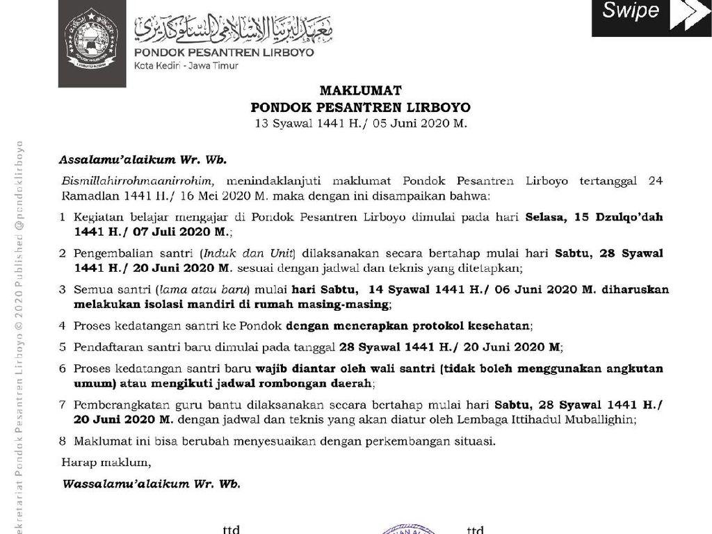 Persiapan New Normal Sambut 28 Ribu Santri, Ponpes Lirboyo Keluarkan Maklumat