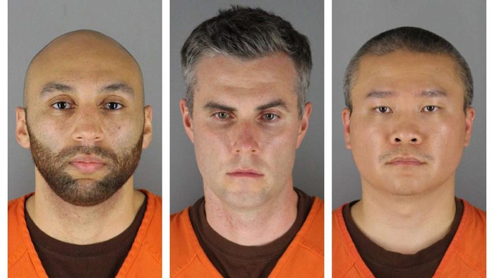 This combination of photos provided by the Hennepin County Sheriffs Office in Minnesota on Wednesday, June 3, 2020, shows J. Alexander Kueng, from left, Thomas Lane and Tou Thao. They have been charged with aiding and abetting Derek Chauvin, who is charged with second-degree murder of George Floyd, a black man who died after being restrained by the Minneapolis police officers on May 25. (Hennepin County Sheriffs Office via AP)