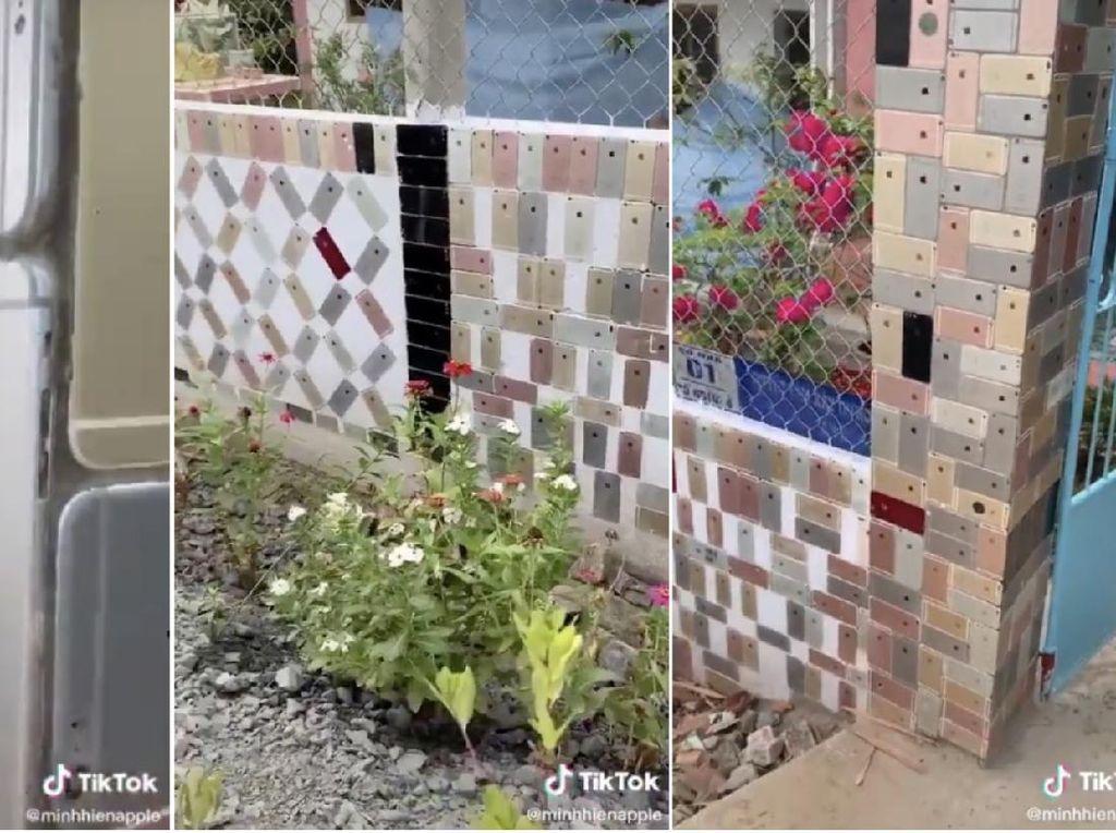 Sultan! Tembok Pagar Rumah Ini Dihiasi Ratusan iPhone
