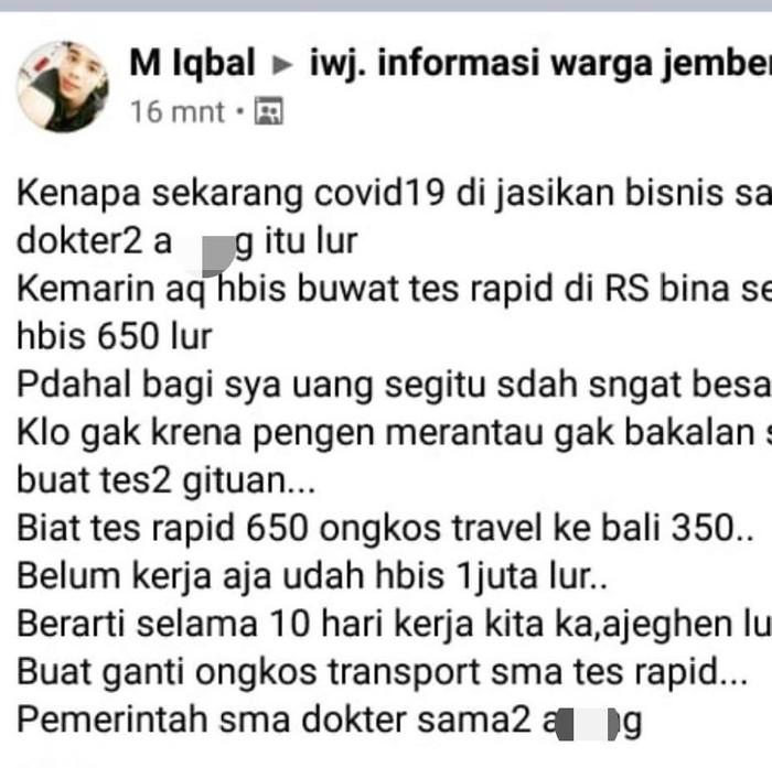 Ikatan Dokter Indonesia (IDI) Jember melaporkan sebuah akun Facebook karena dinilai telah menyebarkan fitnah dan ujaran kebencian. Pemilik akun tersebut mem-posting narasi bahwa wabah Corona menjadi lahan bisnis dokter.