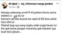 Sebut COVID-19 Jadi Ajang Bisnis Dokter, Pemilik Akun FB di Jember Dilaporkan Polisi
