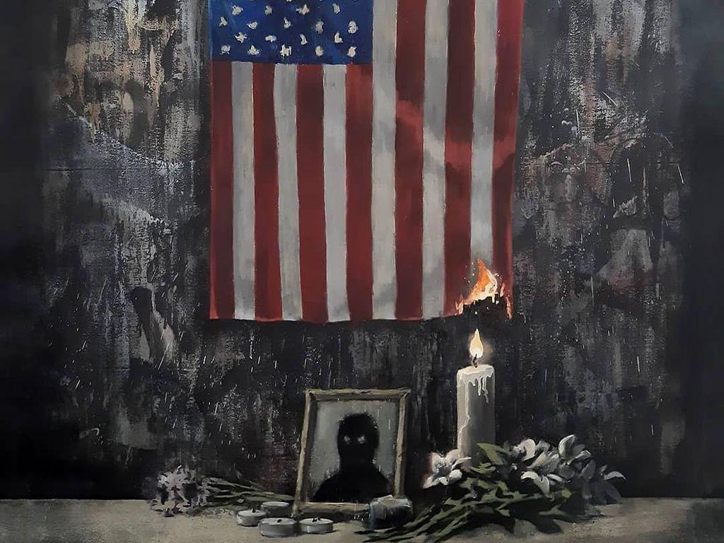 Banksy Bakar Bendera Amerika Serikat, Bagikan Pesan soal Rasialisme Sistemik
