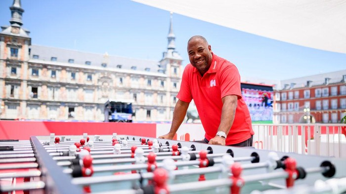 MADRID, SPAIN - MAY 31: John Barnes shows off his (table) football skills at the Hotels.com Champions Retreat ahead of the UEFA Champions League Final on May 31, 2019 in Madrid, Spain. (Photo by Samuel de Roman/Getty Images for Hotels.com)