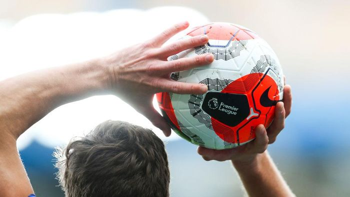LONDON, ENGLAND - FEBRUARY 22: The Nike Premier League Tunnel Vision Merlin Ball during the Premier League match between Chelsea FC and Tottenham Hotspur at Stamford Bridge on February 22, 2020 in London, United Kingdom. (Photo by Catherine Ivill/Getty Images)