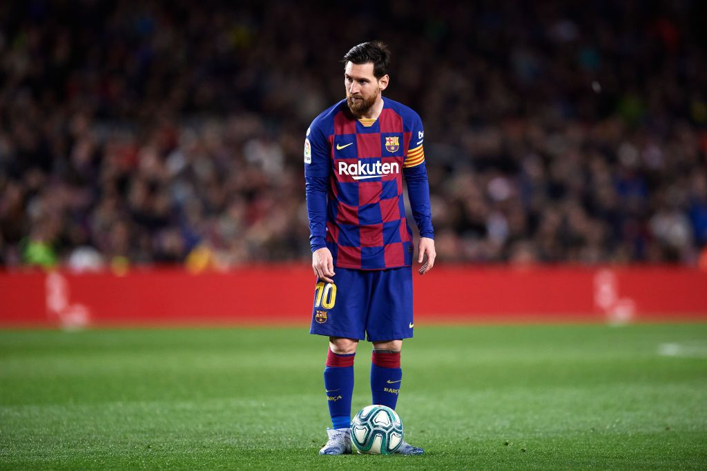 BARCELONA, SPAIN - MARCH 07: Lionel Messi of FC Barcelona prepares to kick a free kick during the Liga match between FC Barcelona and Real Sociedad at Camp Nou on March 07, 2020 in Barcelona, Spain. (Photo by Alex Caparros/Getty Images)