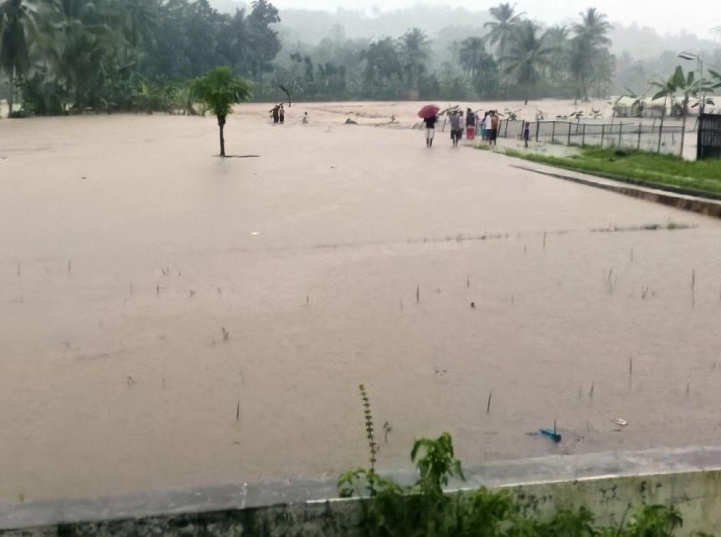 Sungai Cihaur Meluap, 20 Hektar Sawah di Sukabumi Terendam Banjir