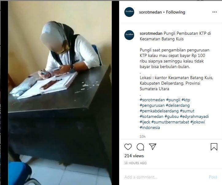 Screenshot unggahan viral diduga praktik pungli pengurusan KTP di Deli Serdang