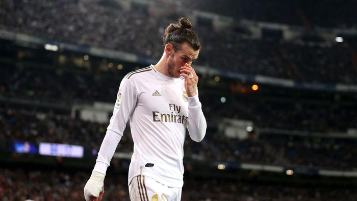 MADRID, SPAIN - FEBRUARY 16: Gareth Bale of Real Madrid looks on during the La Liga match between Real Madrid CF and RC Celta de Vigo at Estadio Santiago Bernabeu on February 16, 2020 in Madrid, Spain. (Photo by Angel Martinez/Getty Images)