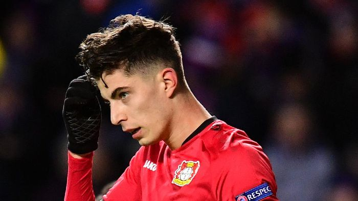 GLASGOW, SCOTLAND - MARCH 12: Kai Havertz of Bayer 04 Leverkusen celebrates after scoring his teams first goal during the UEFA Europa League round of 16 first leg match between Rangers FC and Bayer 04 Leverkusen at Ibrox Stadium on March 12, 2020 in Glasgow, United Kingdom. (Photo by Mark Runnacles/Getty Images)