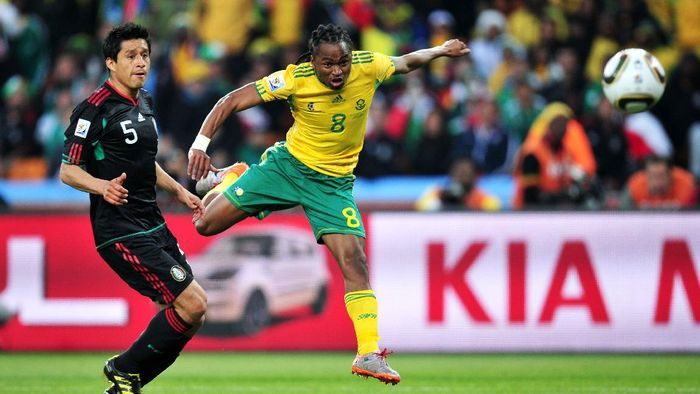 JOHANNESBURG, SOUTH AFRICA - JUNE 11:  Siphiwe Tshabalala of South Africa scores the first goal during the 2010 FIFA World Cup South Africa Group A match between South Africa and Mexico at Soccer City Stadium on June 11, 2010 in Johannesburg, South Africa.  (Photo by Clive Mason/Getty Images)