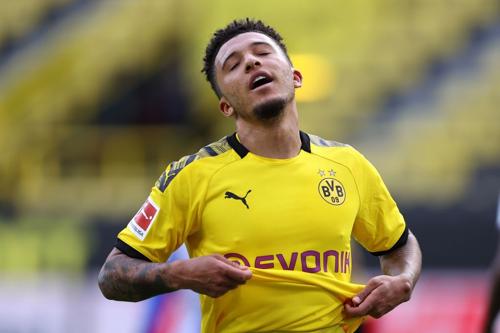 DORTMUND, GERMANY - JUNE 06: Jadon Sancho of Borussia Dortmund reacts to a missed chance on goal during the Bundesliga match between Borussia Dortmund and Hertha BSC at Signal Iduna Park on June 06, 2020 in Dortmund, Germany. (Photo by Lars Baron/Getty Images)