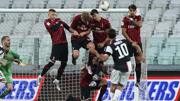 Juventus' Paulo Dybala performs a free-kick past AC Milan's wall , during an Italian Cup second leg soccer match between Juventus and AC Milan at the Allianz stadium, in Turin, Italy, Friday, June 12, 2020. The match was being played without spectators because of the coronavirus lockdown. (Spada/LaPresse via AP)