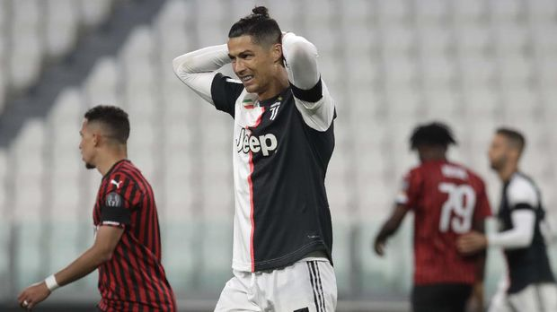 Juventus' Cristiano Ronaldo grimaces during an Italian Cup second leg soccer match between Juventus and AC Milan at the Allianz stadium, in Turin, Italy, Friday, June 12, 2020. The match was being played without spectators because of the coronavirus lockdown. (AP Photo/Luca Bruno)