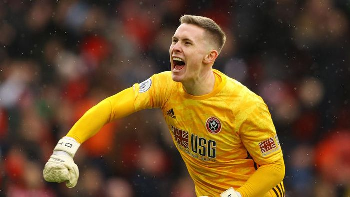SHEFFIELD, ENGLAND - FEBRUARY 22: Dean Henderson of Sheffield United celebrates his sides first goal during the Premier League match between Sheffield United and Brighton & Hove Albion at Bramall Lane on February 22, 2020 in Sheffield, United Kingdom. (Photo by Richard Heathcote/Getty Images)