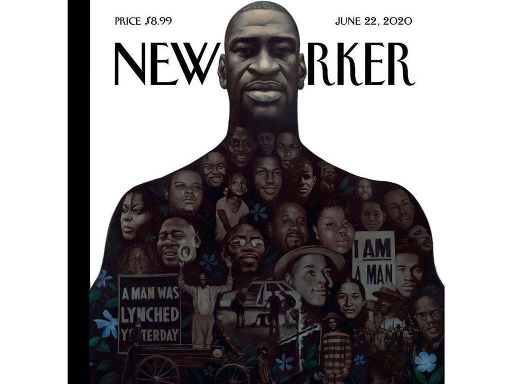 Merinding! Wajah Pria Kulit Hitam yang Dibunuh Digoreskan di Sampul Majalah