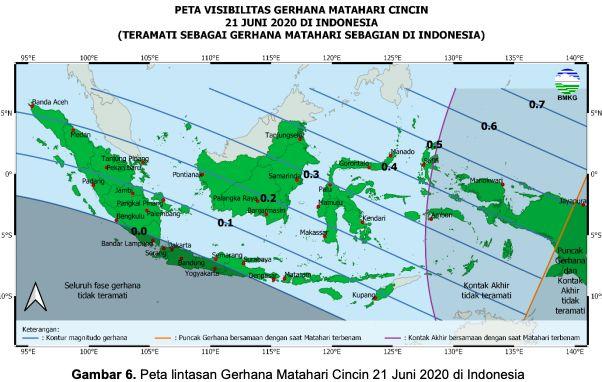 Gerhana matahari cincin bakal terlihat di Indonesia sebagai gerhana matahari sebagian. (Dok BMKG)
