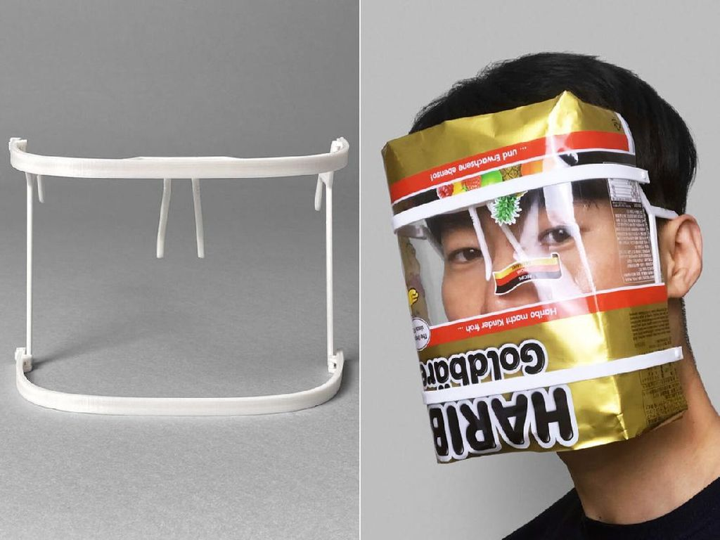 Unik! Face Shield Ini Terbuat dari Daur Ulang Bungkus Makanan