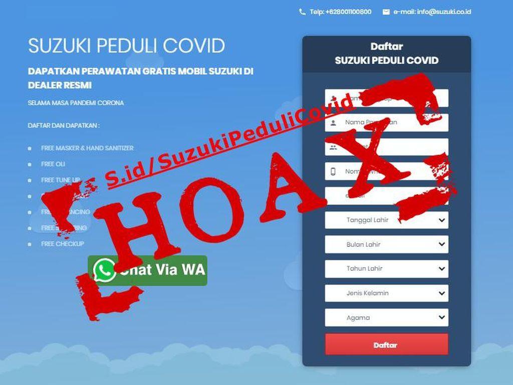 Beredar Info Hoax Suzuki Peduli COVID, Tawarkan Servis Mobil Gratis