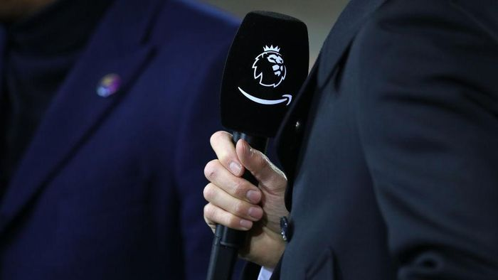 WOLVERHAMPTON, ENGLAND - DECEMBER 04: A detailed view of a microphone with both the Premier League logo and an Amazon logo is seen prior to the Premier League match between Wolverhampton Wanderers and West Ham United at Molineux on December 04, 2019 in Wolverhampton, United Kingdom. (Photo by Catherine Ivill/Getty Images)