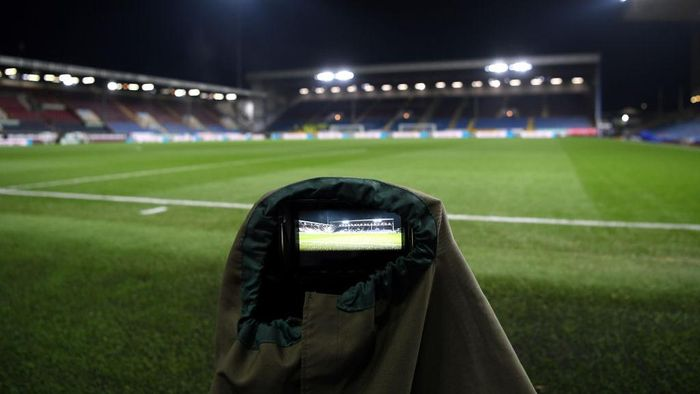 BURNLEY, ENGLAND - DECEMBER 03: General view inside the stadium of the stadium shown on a camera ahead of the Premier League match between Burnley FC and Manchester City at Turf Moor on December 03, 2019 in Burnley, United Kingdom. (Photo by Stu Forster/Getty Images)