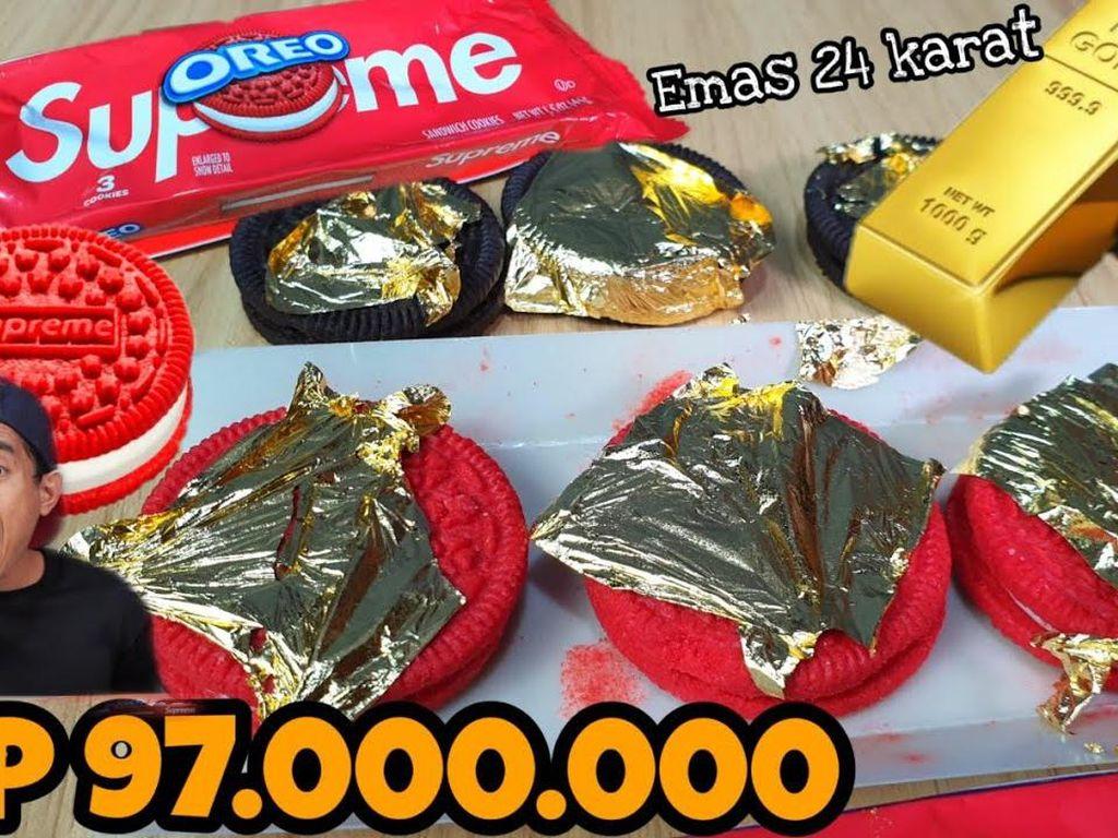 Wow! Tanboy Kun Pamer Makan Oreo Supreme Berlapis Emas 24 Karat