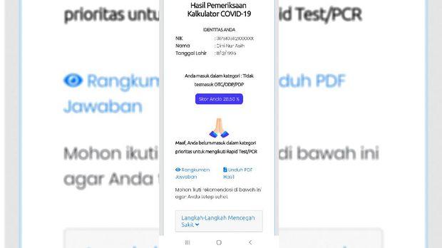 Tangkapan layar situs web rapidtest-corona.jakarta.go.id