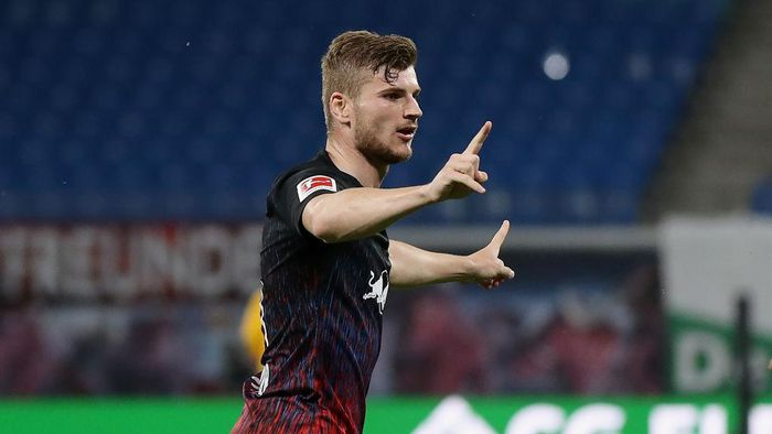 LEIPZIG, GERMANY - JUNE 17:  Timo Werner of RB Leipzig celebrates after scoring his teams second goal during the Bundesliga match between RB Leipzig and Fortuna Duesseldorf at Red Bull Arena on June 17, 2020 in Leipzig, Germany. (Photo by Alexander Hassenstein/Getty Images)