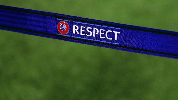 WOLVERHAMPTON, ENGLAND - NOVEMBER 07: The UEFA Respect logo on a barrier prior to the UEFA Europa League group K match between Wolverhampton Wanderers and Slovan Bratislava at Molineux on November 07, 2019 in Wolverhampton, United Kingdom. (Photo by Catherine Ivill/Getty Images)