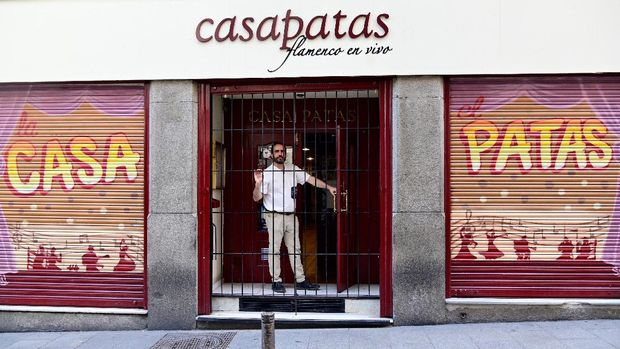 Casa Patas owner Martin Guerrero poses during an interview with AFP in Madrid on June 15, 2020. - After 32 years, the curtain has finally fallen at Madrid's Casa Patas flamenco club, its vibrant shows silenced by the epidemic which has dealt a dramatic blow to Spain's flamenco 'tablaos'. Hugely popular with tourists, these flamenco clubs say the pandemic has put them