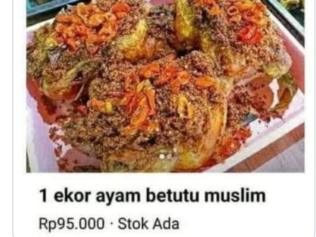Jual Ayam Betutu Muslim, Netizen : Ayamnya Udah Masuk Islam?