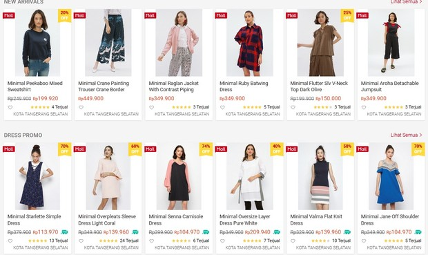 berbagai pilihan fashion item trendi bisa kamu temukan di Minimal