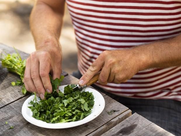 Ilustrasi memotong sayuran seledri