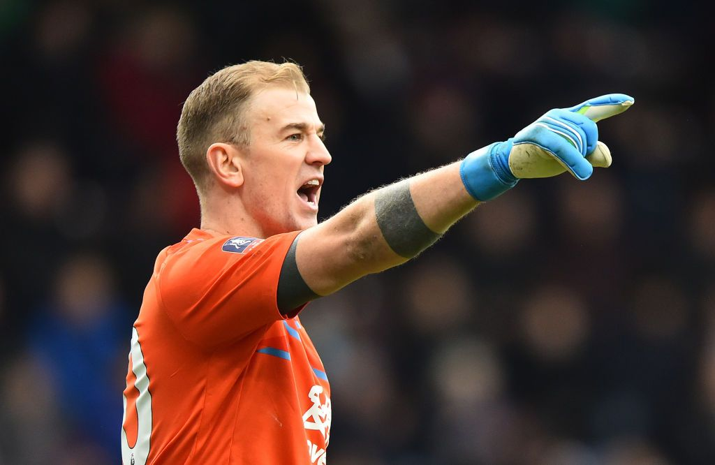 BURNLEY, ENGLAND - JANUARY 04: Joe Hart of Burnley gives his teammates instructions during the FA Cup Third Round match between Burnley FC and Peterborough United at Turf Moor on January 04, 2020 in Burnley, England. (Photo by Nathan Stirk/Getty Images)