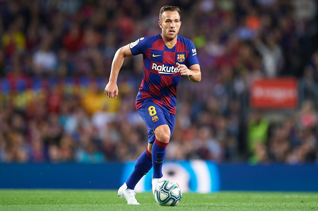 BARCELONA, SPAIN - OCTOBER 06: Arthur Melo of FC Barcelona in action during the Liga match between FC Barcelona and Sevilla FC at Camp Nou on October 06, 2019 in Barcelona, Spain. (Photo by Aitor Alcalde/Getty Images)