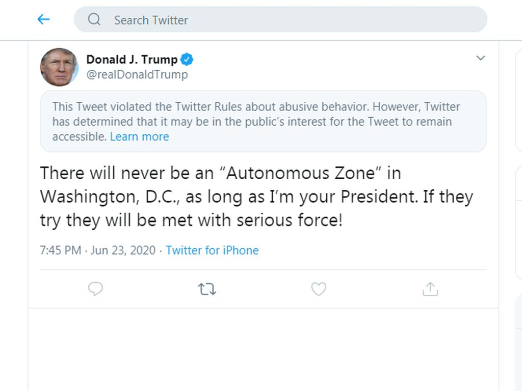 Ancam Pakai Kekerasan ke Demonstran, Cuitan Trump Disentil Twitter Lagi