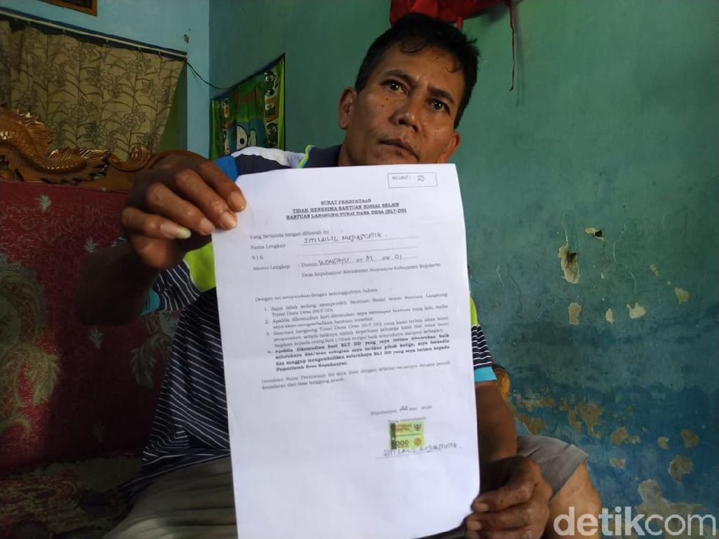 BLT Warga Desa di Mojokerto Dipotong Rp 500 Ribu, Kadus Wajib Kembalikan