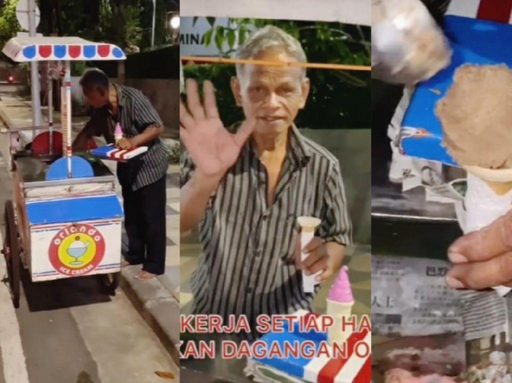 Kakek Penjual Es Krim Ini Semangat Keliling Meski Gerobaknya Rusak