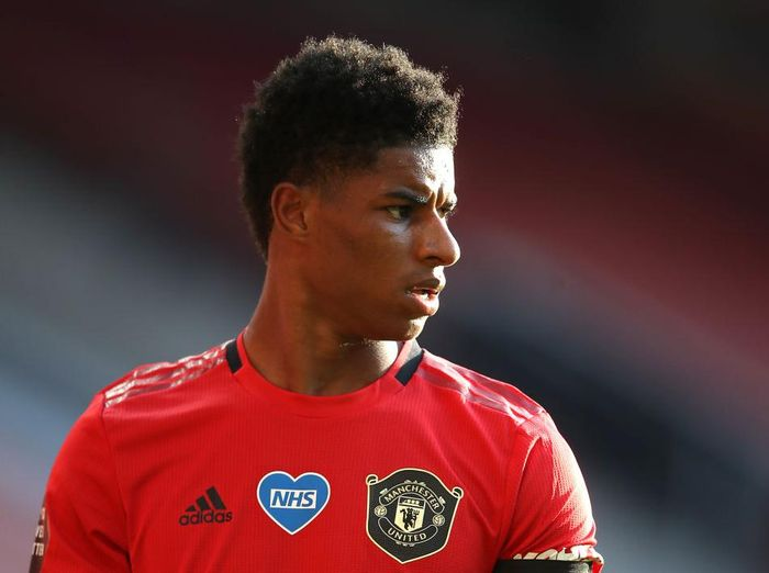 MANCHESTER, ENGLAND - JUNE 24: Marcus Rashford of Manchester United looks on during the Premier League match between Manchester United and Sheffield United at Old Trafford on June 24, 2020 in Manchester, England. (Photo by Martin Rickett/Pool via Getty Images)