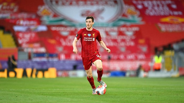 LIVERPOOL, ENGLAND - JUNE 24: Andy Robertson of Liverpool in action during the Premier League match between Liverpool FC and Crystal Palace at Anfield on June 24, 2020 in Liverpool, England. (Photo by Shaun Botterill/Getty Images)