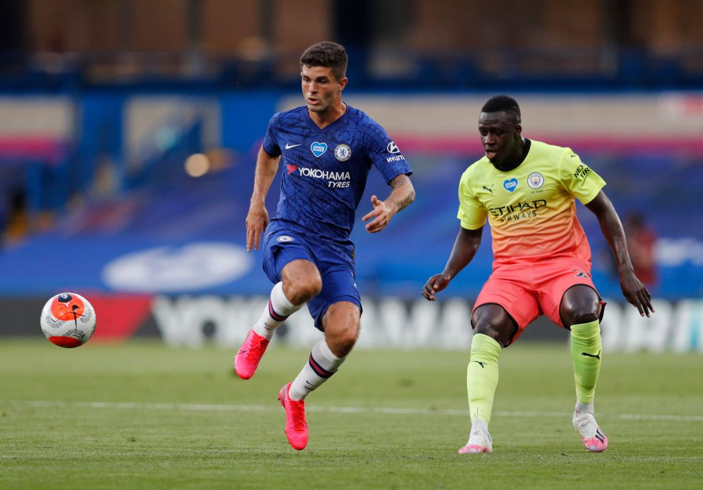 LONDON, ENGLAND - JUNE 25: Christian Pulisic of Chelsea scores his sides first goal during the Premier League match between Chelsea FC and Manchester City at Stamford Bridge on June 25, 2020 in London, United Kingdom. (Photo by Julian Finney/Getty Images)