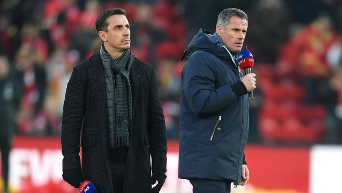 LIVERPOOL, ENGLAND - JANUARY 19: Sky Sports Pundits Gary Neville and Jamie Carragher are seen on the pitch prior to the Premier League match between Liverpool FC and Manchester United at Anfield on January 19, 2020 in Liverpool, United Kingdom. (Photo by Michael Regan/Getty Images)