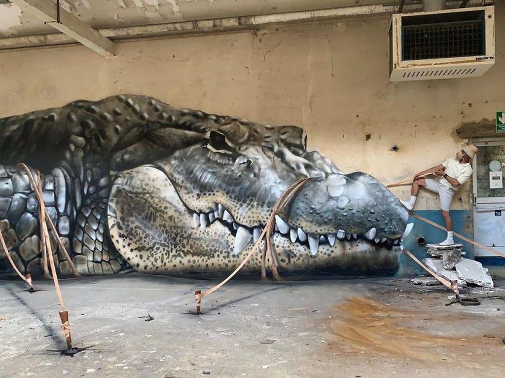 Ketika Bangunan Terbengkalai Disulap Dengan Seni Grafiti  3D