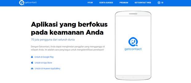 Tampilan website aplikasi Getcontact