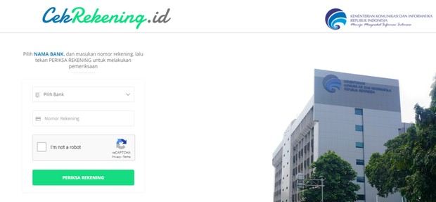 Website cekrekening.id