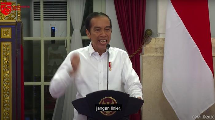 Gestur dan ekspresi Presiden Jokowi (Tangkapan layar video Setpres RI/YouTube)