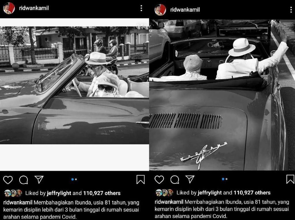 So Sweet, Ridwan Kamil Ajak Ibu Keliling Kota Bandung Naik Mobil Tua