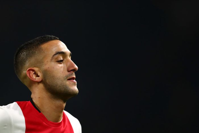 AMSTERDAM, NETHERLANDS - DECEMBER 10: Hakim Ziyech of Ajax in action during the UEFA Champions League group H match between AFC Ajax and Valencia CF at Amsterdam Arena on December 10, 2019 in Amsterdam, Netherlands. (Photo by Dean Mouhtaropoulos/Getty Images)