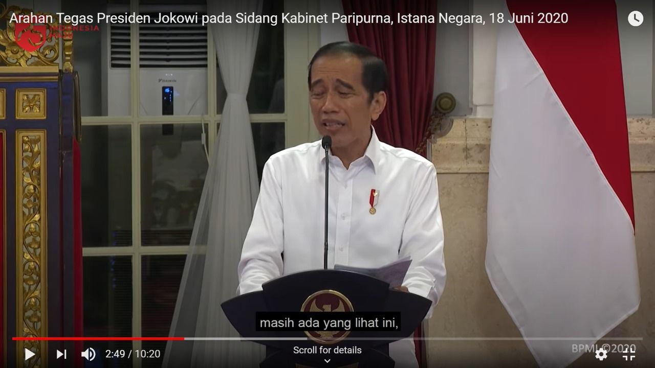 Jokowi sedih, menurut kacamata pakar gestur Handoko Gani (Tangkapan layar kanal YouTube Setpres RI)