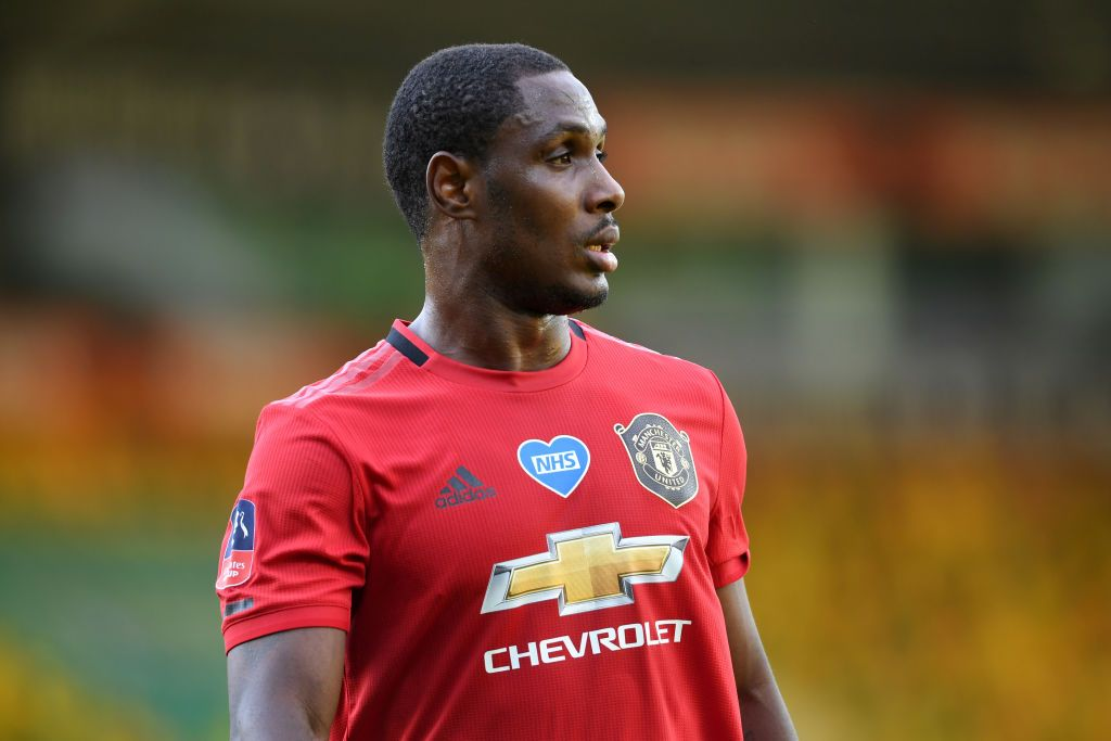 NORWICH, ENGLAND - JUNE 27: Odion Ighalo of Manchester United looks on during the FA Cup Quarter Final match between Norwich City and Manchester United at Carrow Road on June 27, 2020 in Norwich, England. (Photo by Joe Giddens/Pool via Getty Images)
